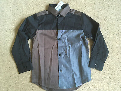 BNWT NEXT Signature Boys Black Grey Panelled Long Sleeved Smart Shirt