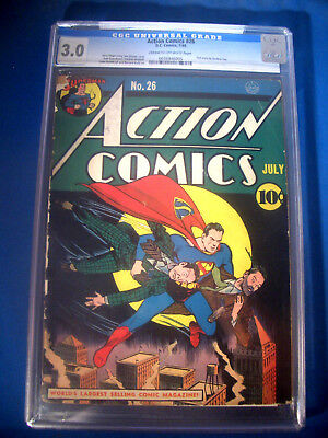 1940 * ACTION Comics #26 * DC * CGC 3.0 GD/VG * Off WHITE Pages * SUPERMAN Cover