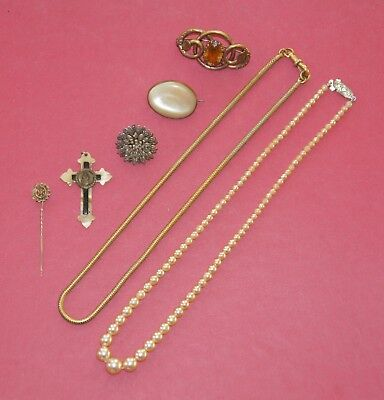 Job Lot Antique & Vintage Jewellery Brooches Necklaces Crucifix inc Rolled Gold