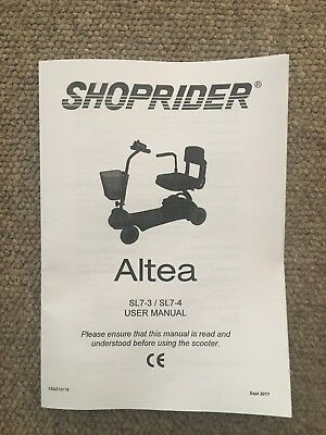 SHOPRIDER ALTEA MOBILITY Scooter Owner's Manual Instructions