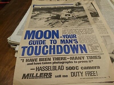 Old Papua New Guinea newspaper liftout moon landing July 18 1969