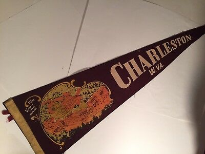 Vintage Travel Felt Souvenir Pennant, CHARLESTON, West Virginia