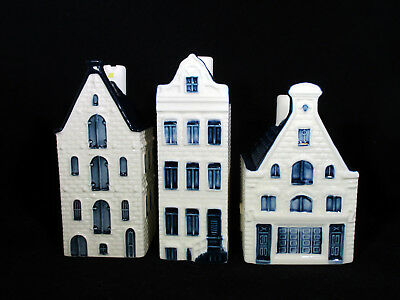 KLM BOLS Blue Delft Holland 3 Houses Miniatures Decanters 54, 58, 66 Unsealed