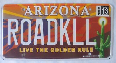 "ARIZONA "" GRAND CANYON - CACTUS - GOLDEN RULE "" MINT AZ Specialty License Plate"