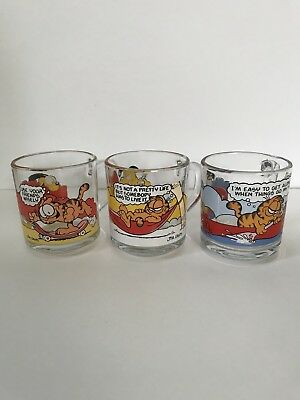 3 Vintage McDonalds Garfield Odie Collectible Glass Mugs Cups 1978 Jim Davis Lot