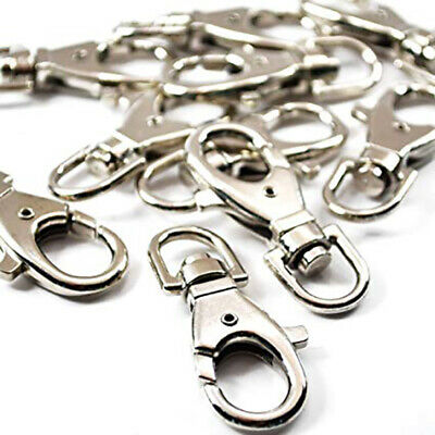 40pc Silver Chrome Lobster Clasp Lanyard Swivel Eye Hook Key Rings Key Chains