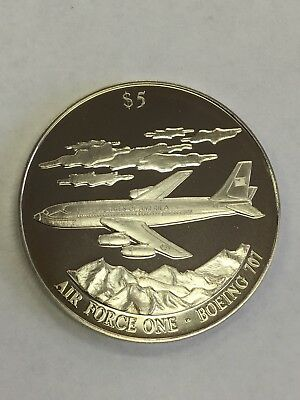 2000 Liberia $5 Airforce One Silver Coin