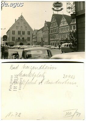 Vintage Photo from 1963 Bad Mergentheim - old townhall, cars,mini bus