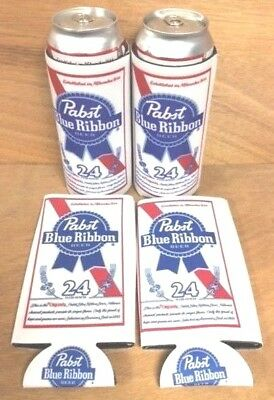 Pabst Blue Ribbon PBR Beer Koozie 24 oz Tall Can Cooler Coozie (4) Pack NEW  F/S