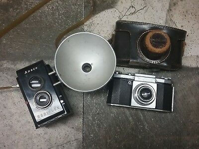 Vintage Praktica Fx And Ansco Rediflex With Strap And Flash