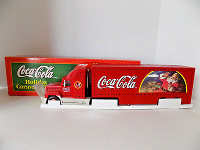 NIB 1998 Coca-Cola Holiday Caravan Semi Truck Lighted Detachable Trailer