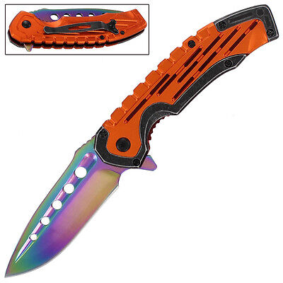 Psychedelic Aggressor Spring Assisted Drop Point Outdoor Pocket Knife