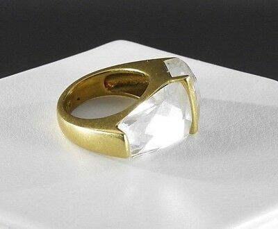 Vintage Silpada Ring Modernist Glass Gold Tone Statement Women Jewelry Costume