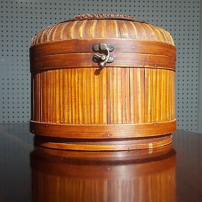 Vintage Chinese Covered knitting sewing Basket - wood (bamboo ?)