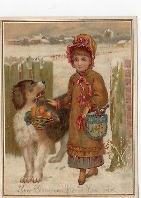 1800's Victorian - Girl With Dog -Christmas Greeting Card- Selling Lot Of Cards