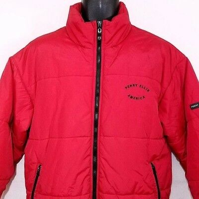 Perry Ellis America Mens Puffer Jacket Vintage 90s Spell Out Arch Quilted XL 60f25df0a
