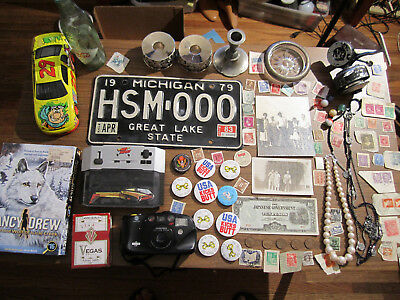Junk Drawer Lot estate sale old coins old marbles buttons old fishing reel USA