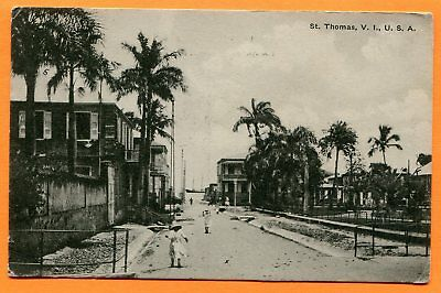 St. Thomas, Virgin Islands, View of Buildings & Street, Old Postcard pm 1900s