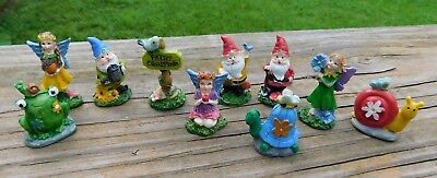 Set of Miniature Gnomes and Fairies Figurines for Tiny Gardens box L