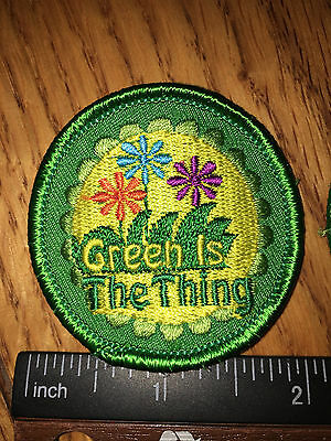 Girl Scout Patch - Green is the Thing - New - Qty 1 - Cute!