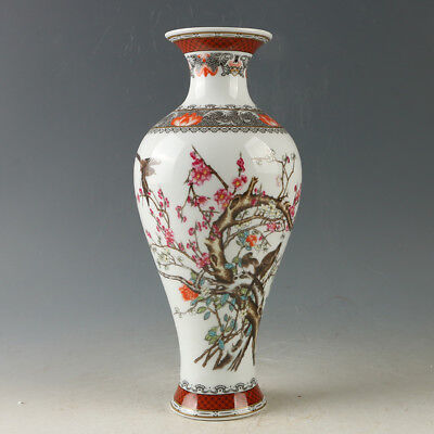 China Porcelain Hand-Painted Flower & Bird Vase W Qianlong Mark R1166