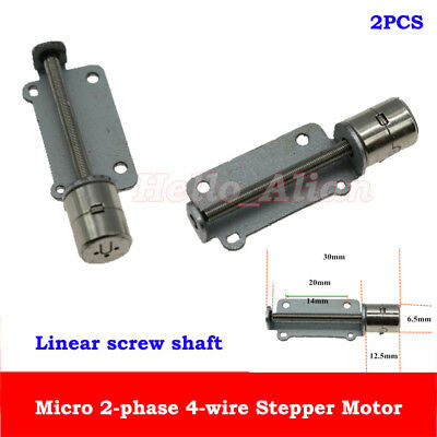 2PCS 2-Phase 4-Wire Micro Mini 6.5mm Stepper Stepping Motor Linear Screw Shaft