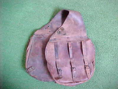 U.s Calvary Leather Saddle Bags ~ Rare ~ Marked With Military Us