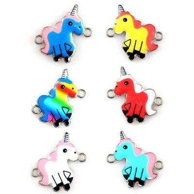 10x Mixed Color Cartoon Unicorn Enamel Metal Charm Connector For DIY Jewelry