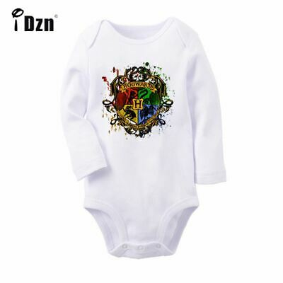 Harry Potter Hogwarts On Wood Newborn Jumpsuit Baby Bodysuit Long Sleeve RomperS