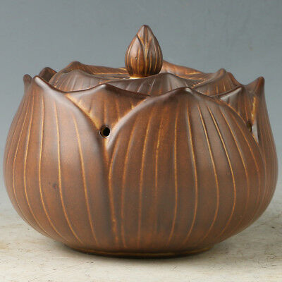 Chinese Yixing Sand-fired(ZiSha)  Incense Burner Hand Carved Lotus Shape RZ009+a