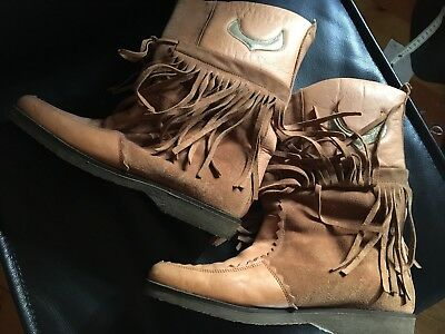 Vintage 80's/90s Dr. Marco sz39 Leather fringed boots AWESOME