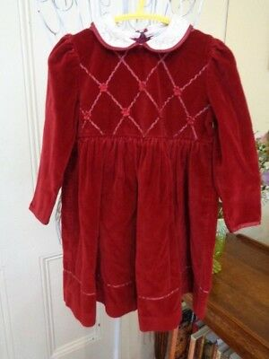 Vintage Rich Red Velvet Little Girls Dress Made In The United Kingdom By Belart
