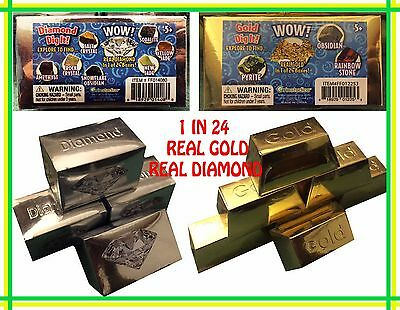(2 new sealed) Diamond & Gold Dig It Find REAL Gold & Diamonds 1:24 Educational