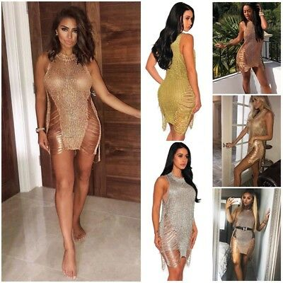 UK Women Party Metallic Chain Knitted Distressed Split Jumper Dress Bikini Cover
