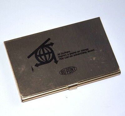 DuPont Solid Brass Business Card Case Holder made in USA