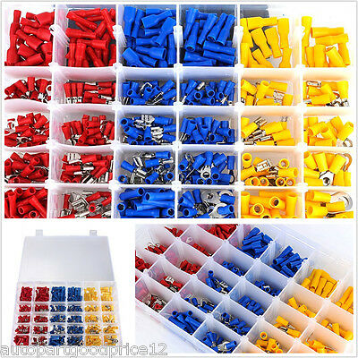480 Pcs Assorted Insulated Electrical Wire Terminals Crimp Connectors Spade Set