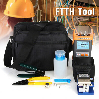 Visible Fiber Optic Power Meter Tester Cleaver Plier Fault Locator FTTH Tool Kit
