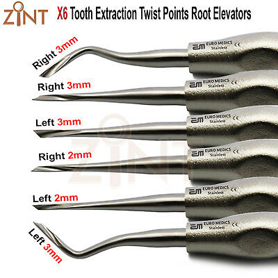 6Pcs Twisted Tooth Extraction Root Elevators Straight And Curved 2mm/3mm Lab CE