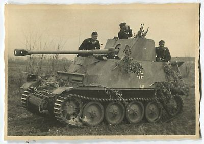 German Wwii Photo From Archive: Marder Iii Tank Destroyer & Its Crew