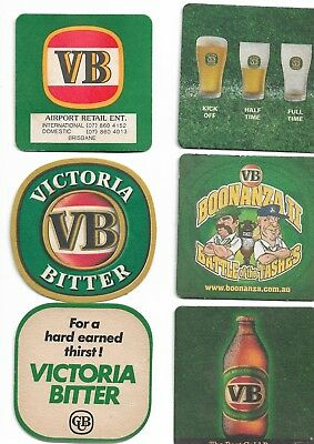 8 Assorted Old VB (Victoria Bitter) Beer Coasters Sold as per 2 scans