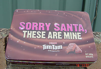 Arnott's Tim Tam Sorry Santa These Are Mine Great Tin Empty Good Condition