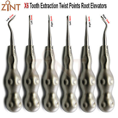Set Of 6 Oral Surgery Dental Tooth Extracting Twist Root Elevators Dental Kit CE