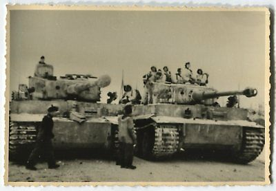 German Wwii Photo From Archive: Two Panzer Vi Tiger Heavy Tanks