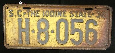 "State of SC 1932 ""Iodine State"" License Plate H-8-056"
