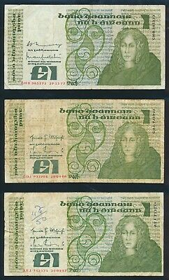 "Ireland: 1977-87 LAST £1 ""SET 7 DIFFERENT DATES"". P70a-70c F to VF - Cat VF $93+"