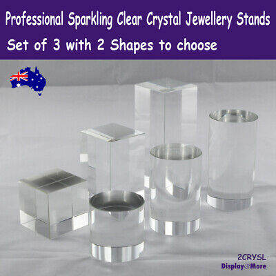 RARE Set of 3 Solid Crystal Jewellery Display Block or Cylinder | AUSSIE Seller