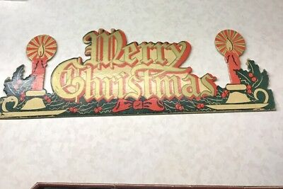 Vtg Merry Christmas Sign Heavy Cardboard Solid Rare!
