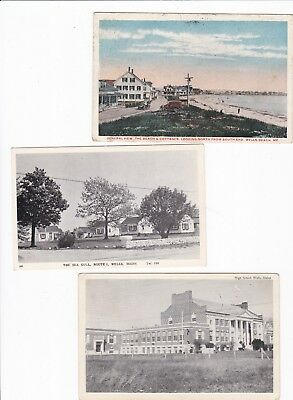 Wells,ME,3 Vintage,High School,Beach & Cottages from South,The Sea Gull-Cottages