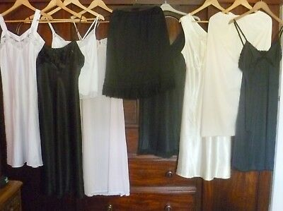 Vintage + Modern Job Lot Lingerie 9 Nighties Full + Half Slips Size 14-16
