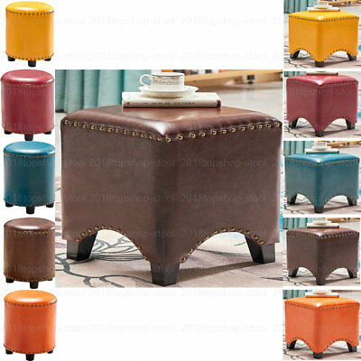 Faux Leather Ottoman Pouffe Footstool Dressing Table Makeup Stool Seat Chair